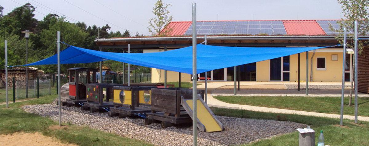 Sonnensegelanlage Viereck mit 6 Pfosten