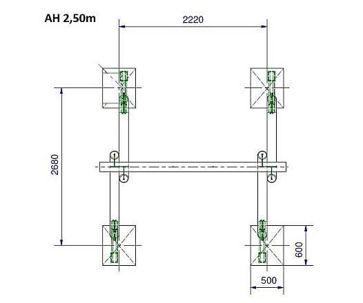 Ein-Platz-Schaukelgestell inkl. Schaukelsitz AH 2,20 m und 2,50 m