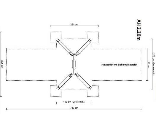 Einfachschaukel Holz/Metall inkl. Schaukelsitz AH 2,20 m oder 2,60 m