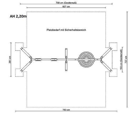 Kombischaukel mit Vogelnest Holz/Metall AH 2,20 m und 2,60 m