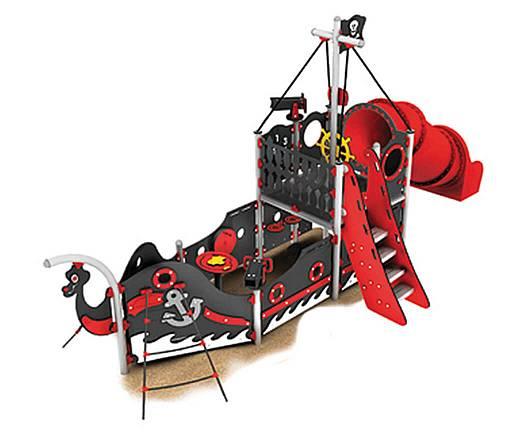 Piratenschiff mit Treppe und Röhrenrutsche