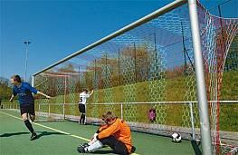 Exklusives Fußballtornetz aus Polypropylen hochfest (1 Paar), ca. 3,5 mm stark, wabenförmige Maschen, 2farbig