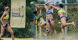 Beach-Handball-Tornetz aus Polypropylen (1 Paar), ca. 4,75 mm stark, hexagonale Maschenstellung, gelb