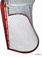 Eishockey-Tornetz (1 Paar) aus Polyester, ca. 4,2 mm stark, Maschenform/-weite quadratisch 30 mm, mit eingearbeitetem Dach