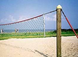 Volleyballnetzanlage aus Herkulesseil (mit Stahleinlage - diebstahlgeschützt), 1 x 9,50 m, 2,5/5 mm stark, MW 10 cm, komplett mit Holzpfosten