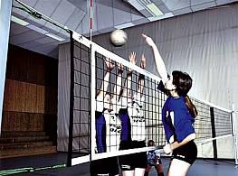 Volleyball-Turniernetz, Polypropylen, ca. 3 mm stark, mit Stahlseil, 4-Punkte-Aufhängung, 9,50 m lang