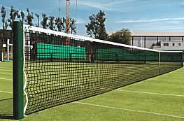 Tennisnetz Excalibur aus Polyester, ca. 2,5 mm stark, ohne Doppelreihen, besonders formstabil, schwarz/grün