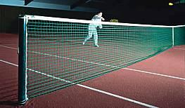 Tennisnetz Merlin aus Polyester, ca. 3,5 mm stark, ohne Doppelreihen, besonders formstabil, schwarz/grün