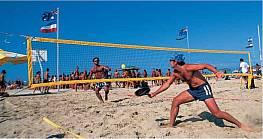 Beach-Tennis-Turniernetz aus schwarzem Polypropylen, 9,50 x 1 m, 3 mm stark, MW 45 mm, ringsum mit Bandeinfassung in neongelb