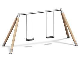 Doppelschaukel Holz/Metall AH 2,20 m und 2,60 m inkl. Schaukelsitzen