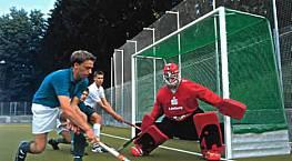 Feldhockey-Tornetze (1 Paar) aus Polypropylen hochfest, ca. 2,5 mm stark, knotenlos, Maschenweite 2,5 cm