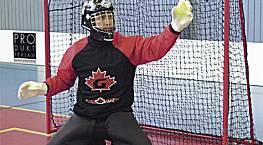 Floorball / Unihockey-Tornetze (1 Paar) aus Polypropylen hochfest, ca. 2,3 mm stark, knotenlos, Maschenweite 4,5 cm