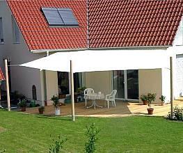 Sonnensegelanlage 5 x 5,70 m Sechseck