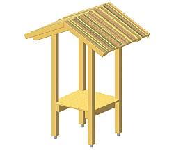 Turm mit Dach aus Brettern und Weidematten